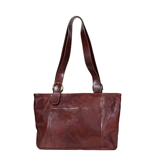 I Medici Firenze Borsa Italian Leather Large Shopping Tote Bag in Brown