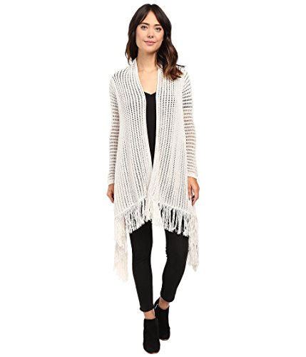 Boho-Chic Vacation & Fall Looks - Standard & Plus Size Styless - Lucky Brand Women's Fringe Cardigan Putty Sweater XL (US 12-14)