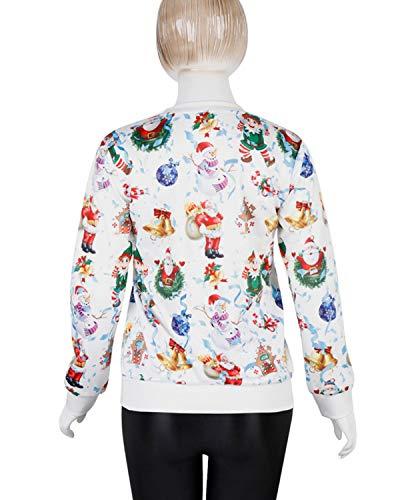 couleur De Taille Blanc Col Pour Du Avec Hemotrade Dessins Ras M Longues Blanc shirt Manches Cou Femme Sweat À Animés Imprimé Et xCw7THFq