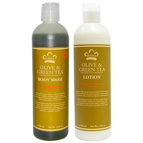 Nubian Heritage Olive & Green Tea Body Wash and Body Lotion Bundle, With Green Tea Extract, Avocado Oil, Olive, Shea Butter and Vitamin E, 13 fl oz each