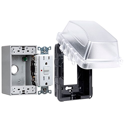 Hubbell-Bell MKG410C Hubbell-BellSingle Gang Metallic Box Vertical/Horizontal While-In-Use Plastic Cover with Tamper Resistant GFCI Protection Receptacle Weatherproof Kit, Clear by Hubbell Bell