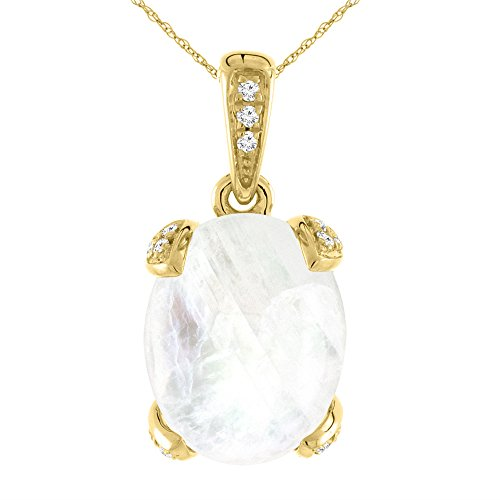 14K Yellow Gold Natural Rainbow Moonstone Necklace Oval 11x9 mm with Diamond (Moonstone Yellow Pendant)