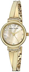 Anne Klein Women's AK/2216IVGB Swarovski Crystal Accented Gold-Tone and Ivory Bangle Watch
