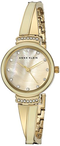 Anne Klein Women's AK/2216IVGB Swarovski Crystal Accented Gold-Tone and Ivory Bangle Watch ()