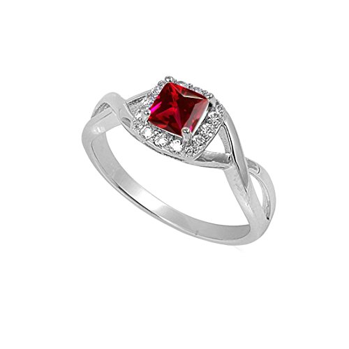 Solitaire Infinity Shank Ring Simulated Ruby Princess Cut 925 Sterling Silver,Size-5