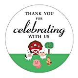 MAGJUCHE Farm Animals Thank You Stickers, Girl Boy Baby Shower or Birthday Party Favor Labels, 2 Inch, 40-Pack