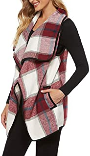 Yacun Women Plaid Vest Open Front Flannel Buffalo Sleeveless Cardigan Shawl Coat