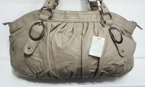 Nicole tortora/beige fibbia borsa a tracolla da donna borsetta