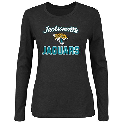 Scoop L/s Tee - NFL Jacksonville Jaguars Women L/S SCOOP NECK TEE, BLACK, 2X