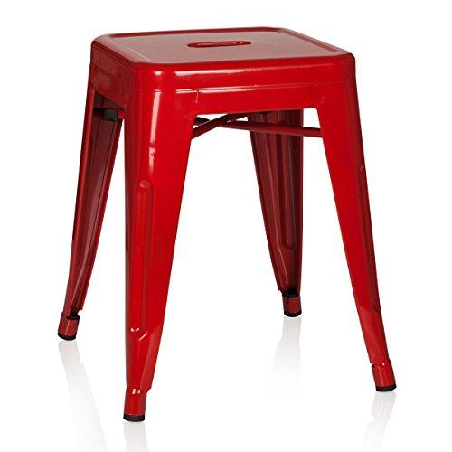 hjh OFFICE 645001 taburete VANTAGGIO metalico rojo, apilable, acero estable, industrial style