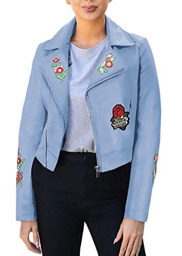 Zip Pelle Autunno Donna Blu Giacche Finta Applique Slim Floreale Cappotto Vintage Casual Con Risvolto Giubbotto Fit Manica Moto Giacca Ricamo Lunga Inverno SPaq5ag