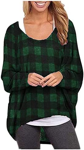 QueenMM Women's Plaid Batwing Sleeve Off Shoulder Loose Oversized Baggy Tops Sweater Pullover Casual Blouse T-Shirt – The Super Cheap