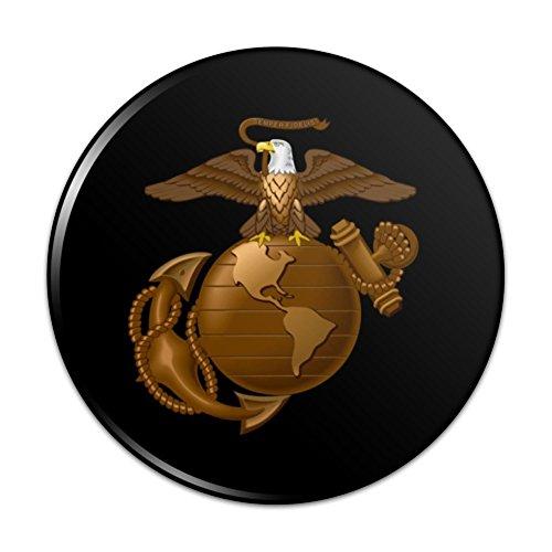 - Marine Corps USMC Golden Logo on Black Eagle Globe Anchor Officially Licensed Pinback Button Pin Badge - 1