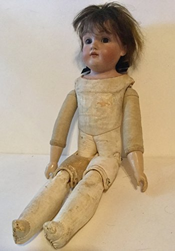 Vintage Doll, Porcelain head, leather body, 14