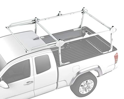 AA-Racks X209 Series Heavy-duty Truck Rack Sqaure Bar Rack w/ Side-bars and Short Over-cab. White - Ford Ranger Ext Cab Short