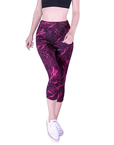 HDE Womens Capri Yoga Pants Fitted Stretch Leggings for Workouts Running (Small, Pink Lightning)