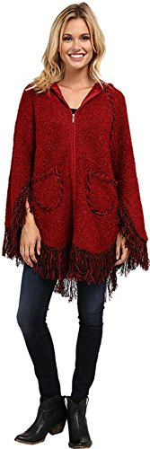 Scully Women's Honey Creek Hooded Zip Front Poncho Burgundy One Size Scully Zip