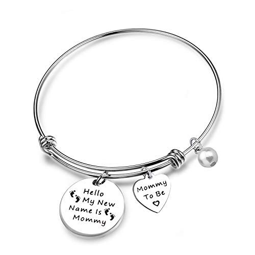New Name Bracelet - QIIER Mommy to Be Gift Hello My New Name is Mommy Bangle Bracelet New Mother Pregnancy Announcement Baby Announcement Gift (Silver)
