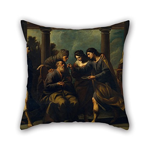 The Oil Painting Andrea Vaccaro - Tobias Heals His Blind Father Pillow Cases Of 16 X 16 Inches / 40 By 40 Cm Decoration Gift For Bedding Sofa Teens Birthday Outdoor Kids Room (both Sides)