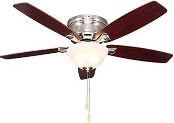 Ventilador, Luces de ventilador de techo, Luces de ventilador antiguas para el hogar de estilo europeo Sala de estar Dibujo americano Níquel cepillado (Color: B): Amazon.es: Iluminación