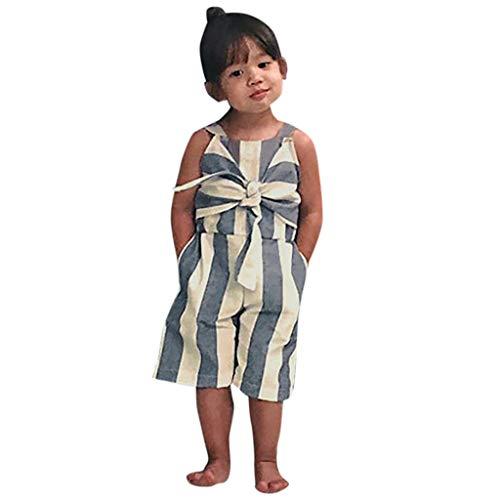 TEVEQ Summer Toddler Baby Girls Sleeveless Gallus Striped Bowknot Romper Jumpsuit Blue -
