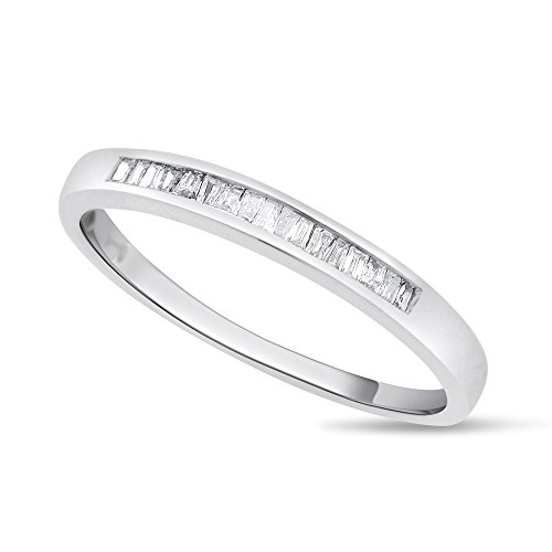 0.15 CT Natural Diamond Baguette Wedding Band in Solid 14k White (0.15 Ct Baguette Diamond)