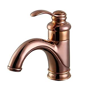 quan Contemporary Rose Gold One Hole Single Handle Bathroom Sink Faucet