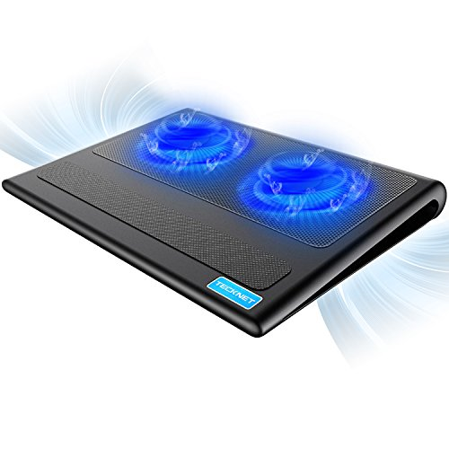 Fan Cooling 3 Pad Notebook - TeckNet Laptop Cooling Pad, Portable Ultra-Slim Quiet Laptop Notebook Cooler Cooling Pad Stand with 2 USB Powered Fans, Fits 12-16 Inches