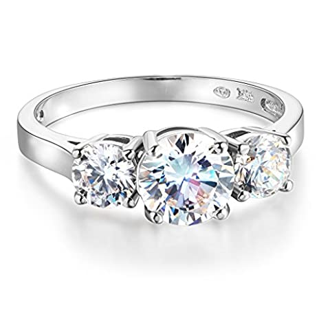Wellingsale Ladies Solid 14k White Gold Polished CZ Cubic Zirconia Round Cut Three 3 Stone Engagement Ring - Size - 3 Stone Four Prong Ring