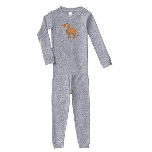Camel Animals Cotton Long Sleeve Crewneck Unisex Infant Sleepwear Pajama 2 Pcs Set Top and Pant - Oxford Gray, 4T