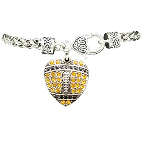 New Orleans Saints or Pittsburgh Steelers Football Heart Charm Bracelet (Gold Pittsburgh Steelers Charm)