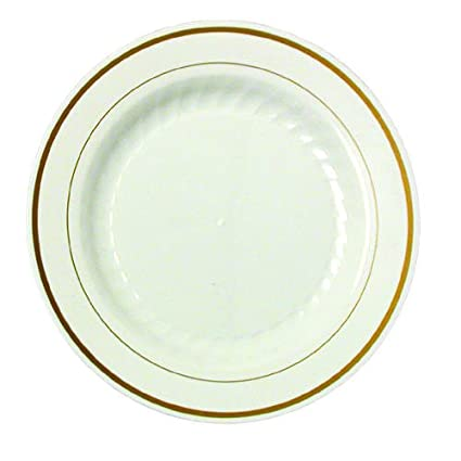 Ivory w/ Gold Border Masterpiece 7.5u0026quot; Plastic Party Plate ...  sc 1 st  Amazon.com & Amazon.com: Ivory w/ Gold Border Masterpiece 7.5