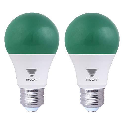 (TriGlow Green LED A19 Light Bulb, 9W (60W Equivalent) Green Light Bulbs 2-Pack)