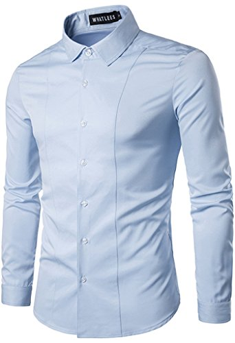 Whatlees Mens Solid Long Sleeve Slim Fit Button Down Dress Shirt B405-Blue-S