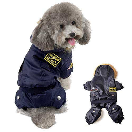 Refial USA Pet Air Force Costumet, Dog Cold Weather Coats, Dog Halloween Costumes Waterproof Rainproof Dog Clothes for Small Medium Large Dogs Halloween Christmas Sweater Pet-Costumes (M)]()