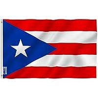 Anley Fly Breeze - Bandera de Puerto Rico de 3x5 pies - Color vivo y resistente a la decoloración UV - Encabezado de lona y doble costura - Banderas nacionales de Puerto Rico Poliéster con ojales de latón 3 X 5 Ft