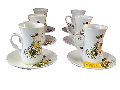 Istikana Turkish Middle Eastern Tea Cups Set of 6 (Gold Daisy) - Tea Hostess Set