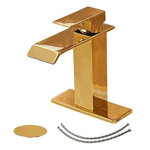 BWE Waterfall Commercial Spout Single Handle One Hole Bathroom Sink Faucet Gold Deck Mount Lavatory Golden