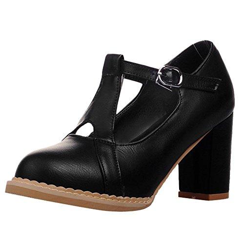 Mee Shoes Damen Blockabsatz Schnalle runde Pumps Schwarz