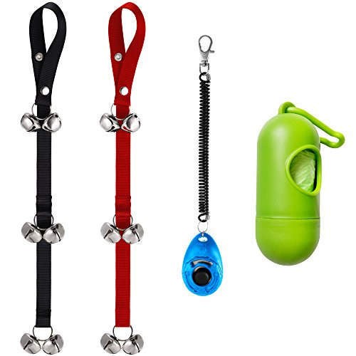 Zacro Set of 2 Dog Doorbells for Dog Training and Housebreaking Your Doggy DB022 Doorbells with One Clicker and One Dog Waste Bag Dispenser with 15 Count Bags