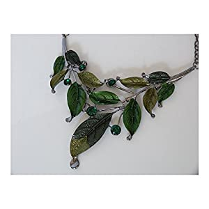 S&E Exaggerate Vintage Leaf Shape Crystal Chain Collar Pendant Necklace Earring Jewelry Sets at Gotham City Store