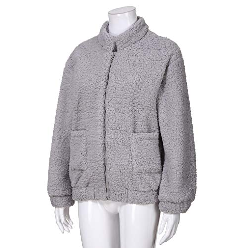 Warm Womens Soft Wrap TUDUZ with Fluffy Bomber Outerwear Sherpa Coat Faux Pockets Winter Jacket Fleece Gray Fur Cardigan Short Fluffy AA5qC