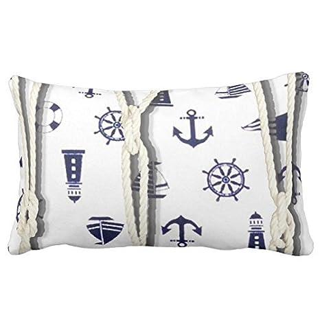 Funda de almohada decorativa con diseño náutico y de cuerda ...
