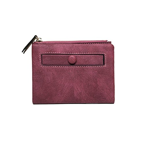 Women's RFID Bifold Leather Small Wallet Ladies Mini Purse with Coin Pocket,Soft Compact Thin Wallet (purple2)