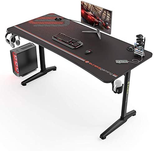 "EUREKA ERGONOMIC Gaming Desk 60"" Home Office Computer Desk, New Polygon Legs Design, Captain Series (60 Inch, Black)"