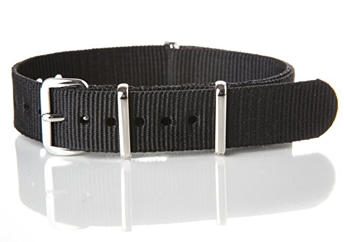 16mm [ Solid Black ] Nylon Nato Band Military Watch Strap G10