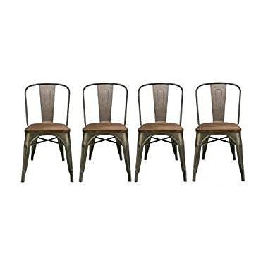 BTExpert Industrial Metal Wood Top Vintage Tabouret Antique Copper Bronze Rustic Distressed Dining Bistro Cafe Stackable Side Chair, Set of 4