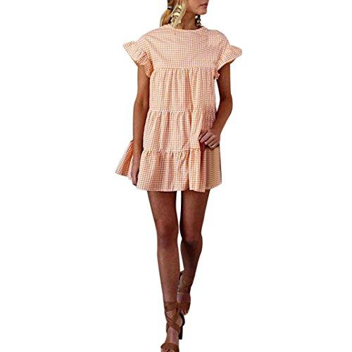 (HODOD Summer Women's Ladies Plaid Printing O-Neck Short Sleeve Mini Dress XL Orange)