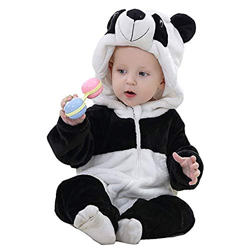Unisex Baby Flannel Romper Animal Onesie Costume Hooded Cartoon Outfit Suit (Panda, 70)]()