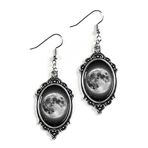Etsy Star Wars Costumes - Full Lunar Moon 18x25mm Cameo Glass Silver Filigree Earrings